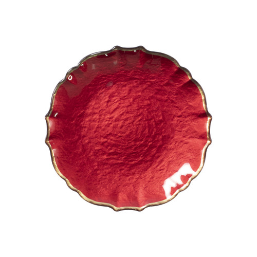 """Vietri VIVA Baroque Glass Red Salad Plate  VPAS-5201R 8.5""""D  Your table needs a makeover. Set a stylish tone with the Baroque Glass Salad Plate, the trendy accessory every table needs to add just a touch of glam.  Order this salad plate from plumpuddingkitchen.com today."""