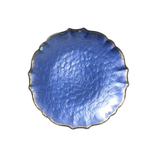 """Vietri VIVA Baroque Glass Cobalt Salad Plate  VPAS-5201C 8.5""""D  Your table needs a makeover. Set a stylish tone with the Baroque Glass Salad Plate, the trendy accessory every table needs to add just a touch of glam.  Order this salad plate from plumpuddingkitchen.com today."""