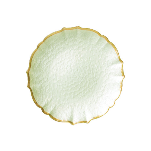 """Vietri VIVA Baroque Glass Pistachio Salad Plate  VPAS-5201P 8.5""""D  Your table needs a makeover. Set a stylish tone with the Baroque Glass Salad Plate, the trendy accessory every table needs to add just a touch of glam.  Order this salad plate from plumpuddingkitchen.com today."""