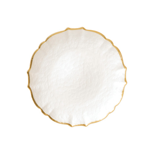 """Vietri VIVA Baroque Glass White Salad Plate  VPAS-5201W 8.5""""D  Your table needs a makeover. Set a stylish tone with the Baroque Glass Salad Plate, the trendy accessory every table needs to add just a touch of glam.  Order this salad plate from plumpuddingkitchen.com today."""