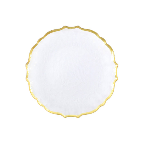 """Vietri VIVA Baroque Glass Clear Salad Plate  VPAS-5201CL 8.5""""D  Your table needs a makeover. Set a stylish tone with the Baroque Glass Salad Plate, the trendy accessory every table needs to add just a touch of glam.  Order this salad plate from plumpuddingkitchen.com today."""