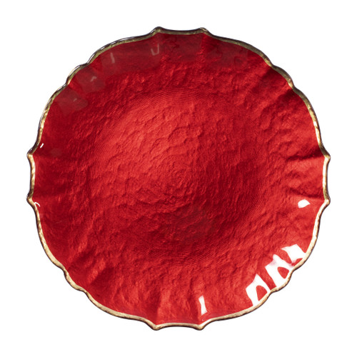 """Vietri VIVA Baroque Glass Red Service Plate/Charger  VPAS-5221R 13""""D  Bring a hint of sparkle to your table with the Baroque Glass Service Plate/Charger, the ultimate cocktail party accessory and the new gotta-have-it piece your friends will lust after. the Baroque Glass Salad Plate, the trendy accessory every table needs to add just a touch of glam.  Order this service plate/charger from plumpuddingkitchen.com today."""