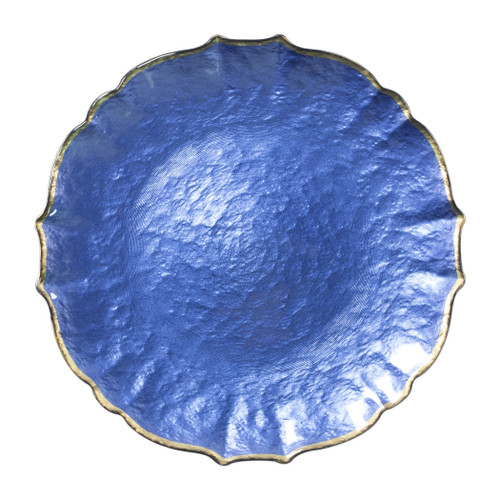 """Vietri VIVA Baroque Glass Cobalt Service Plate/Charger  VPAS-5221C 13""""D  Bring a hint of sparkle to your table with the Baroque Glass Service Plate/Charger, the ultimate cocktail party accessory and the new gotta-have-it piece your friends will lust after. the Baroque Glass Salad Plate, the trendy accessory every table needs to add just a touch of glam.  Order this service plate/charger from plumpuddingkitchen.com today."""
