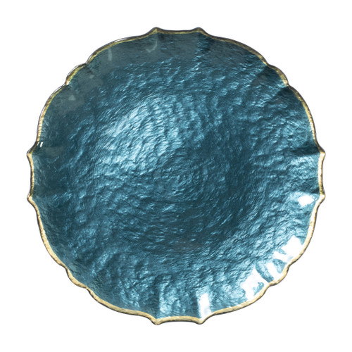"""Vietri VIVA Baroque Glass Teal Service Plate/Charger  VPAS-5221T 13""""D  Bring a hint of sparkle to your table with the Baroque Glass Service Plate/Charger, the ultimate cocktail party accessory and the new gotta-have-it piece your friends will lust after. the Baroque Glass Salad Plate, the trendy accessory every table needs to add just a touch of glam.  Order this service plate/charger from plumpuddingkitchen.com today."""