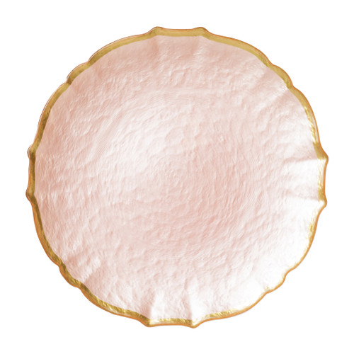 """Vietri VIVA Baroque Glass Pink Service Plate/Charger  VPAS-5221PI 13""""D  Bring a hint of sparkle to your table with the Baroque Glass Service Plate/Charger, the ultimate cocktail party accessory and the new gotta-have-it piece your friends will lust after. the Baroque Glass Salad Plate, the trendy accessory every table needs to add just a touch of glam.  Order this service plate/charger from plumpuddingkitchen.com today."""