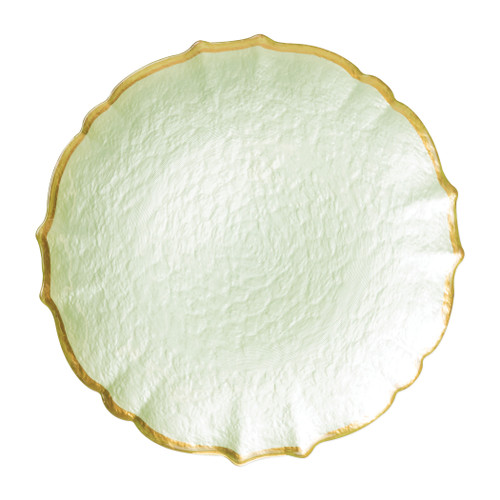 """Vietri VIVA Baroque Glass Pistachio Service Plate/Charger  VPAS-5221P 13""""D  Bring a hint of sparkle to your table with the Baroque Glass Service Plate/Charger, the ultimate cocktail party accessory and the new gotta-have-it piece your friends will lust after. the Baroque Glass Salad Plate, the trendy accessory every table needs to add just a touch of glam.  Order this service plate/charger from plumpuddingkitchen.com today."""