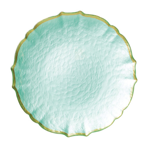 """Vietri VIVA Baroque Glass Aqua Service Plate/Charger  VPAS-5221AQ 13""""D  Bring a hint of sparkle to your table with the Baroque Glass Service Plate/Charger, the ultimate cocktail party accessory and the new gotta-have-it piece your friends will lust after. the Baroque Glass Salad Plate, the trendy accessory every table needs to add just a touch of glam.  Order this service plate/charger from plumpuddingkitchen.com today."""