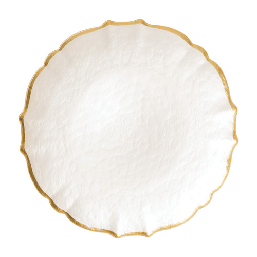 """Vietri VIVA Baroque Glass White Service Plate/Charger  VPAS-5221W 13""""D  Bring a hint of sparkle to your table with the Baroque Glass Service Plate/Charger, the ultimate cocktail party accessory and the new gotta-have-it piece your friends will lust after. the Baroque Glass Salad Plate, the trendy accessory every table needs to add just a touch of glam.  Order this service plate/charger from plumpuddingkitchen.com today."""
