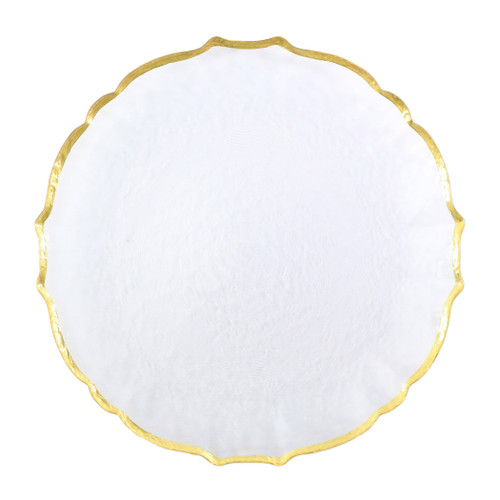 """Vietri VIVA Baroque Glass Clear Service Plate/Charger  VPAS-5221CL 13""""D  Bring a hint of sparkle to your table with the Baroque Glass Service Plate/Charger, the ultimate cocktail party accessory and the new gotta-have-it piece your friends will lust after. the Baroque Glass Salad Plate, the trendy accessory every table needs to add just a touch of glam.  Order this service plate/charger from plumpuddingkitchen.com today."""