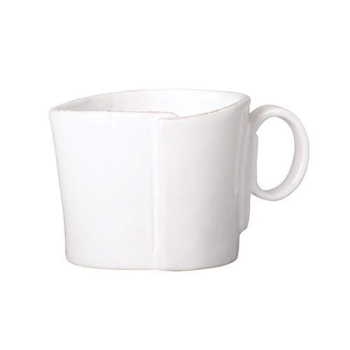 """The Lastra White Creamer is rustic, chic, and sophisticated. An overlapping wooden mold, used for centuries to form cheeses throughout Italy, inspired Lastra's organic shapes and clean lines. 3""""H, 7 oz LAS-2613W"""