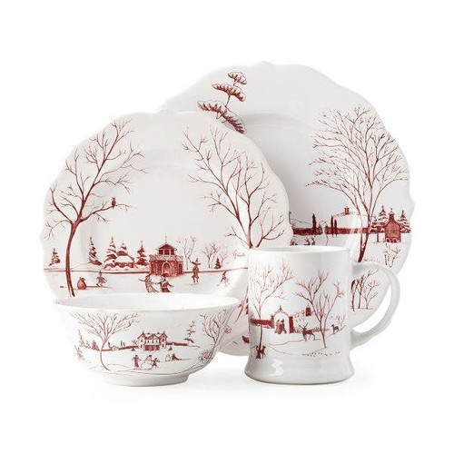 Juliska Country Estate Winter Frolic Ruby 4pc Setting  CE40/73  All that's merry and bright sparkles from the festive winter scenes of our Country Estate Ruby collection from plumpuddingkitchen.com. Our 4 piece setting in contains a dinner plate, dessert/salad plate, cereal/ice cream bowl, and mug.