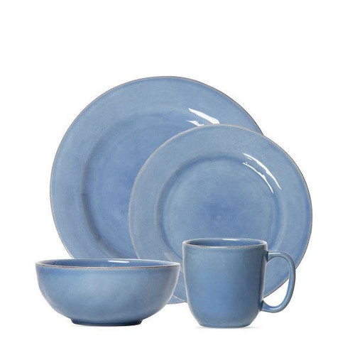 Juliska Puro Chambray 16pc Dinnerware Set  KS101SETX/47  A Puro dinnerware set for the discerning new homeowner or entertainer, this bundle includes 4 dinner plates, 4 dessert/salad plates, 4 cereal/ice cream bowls and 4cofftea cups - all in new Chambray blue hue.