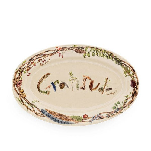 """Juliska Forest Walk 15"""" Platter  CW55/90 15""""L, 10""""W, 1.75""""H  This generously sized 15"""" platter from plumpuddingkitchen.com declares our favorite seasonal setiment of gratitude, which we believe to be the secret to happiness, and is decorated with found treasures from the forest floor. Proudly display an entree (straight from the oven!) - or bestow this as a gift to someone to let them know how much you appreciate them."""