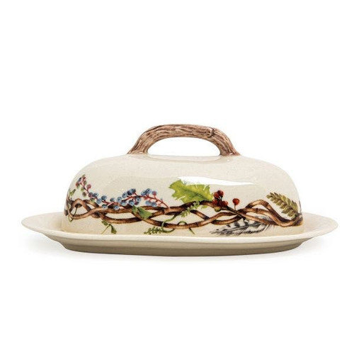 """Juliska Forest Walk Butter Dish  CW10/90 8""""L, 4.75""""W, 3.5""""H  A very important piece for every Thanksgiving meal, this butter dish from plumpuddingkitchen.com is sure to be the talk of the table. Complete with a faux-wood handle and trimmed with a woodland motif border, this piece can be left out on the table or countertop all Autumn long."""