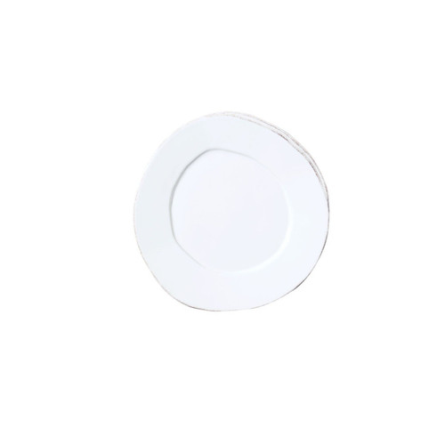 """The Lastra White Canape Plate looks elegantly rustic on your table. An overlapping wooden mold, used for centuries to form cheeses throughout Italy, inspired this collection. 6.25""""D LAS-2670W"""