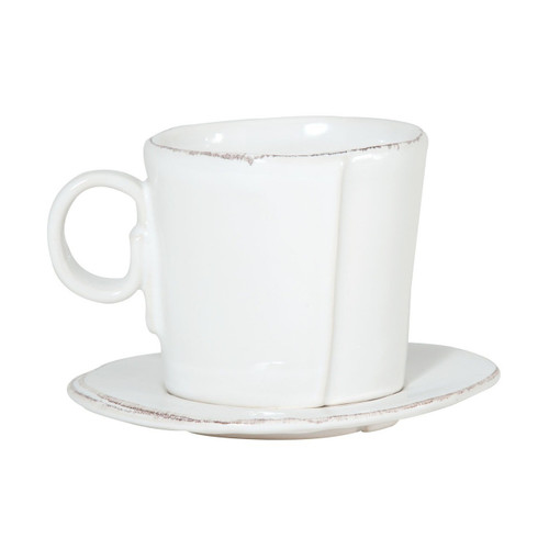"The Lastra White Espresso Cup and Saucer are rustic, chic, and endlessly charming. An overlapping wooden mold, used for centuries to form cheeses throughout Italy, inspired this collection. 3""H LAS-2609W"