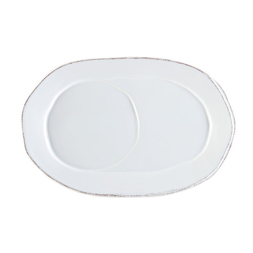 """The Lastra White Oval Tray is a chic, sophisticated shape, and its grooves were designed to fit the Lastra Jumbo Cup or Small Handled Bowl. 10.25""""L, 6.75""""W LAS-2624W"""