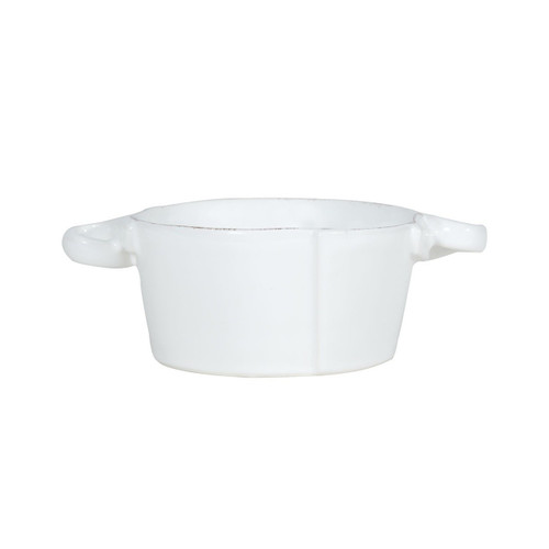 """The Lastra White Small Handled Bowl is rustic and chic. An overlapping wooden mold, used for centuries to form cheeses throughout Italy, inspired this collection. 5""""D, 2.5""""H LAS-2651W"""