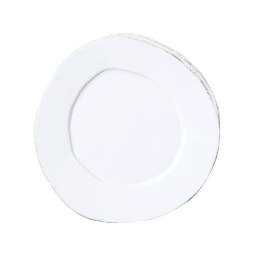 "The perfect plate for salad, dessert or appetizers, the Lastra White Salad Plate is rustic and sophisticated. An overlapping wooden mold, used for centuries to form cheeses throughout Italy, inspired this collection. 8.75""D LAS-2601W"