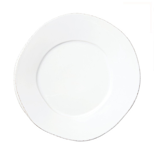 "The Lastra White European Dinner Plate is rustic, chic, and sophisticated. Of the two dinner plates in the Lastra collection, this is the smaller one. An overlapping wooden mold, used for centuries to form cheeses throughout Italy, inspired this collection. 10.5""D LAS-2606W"
