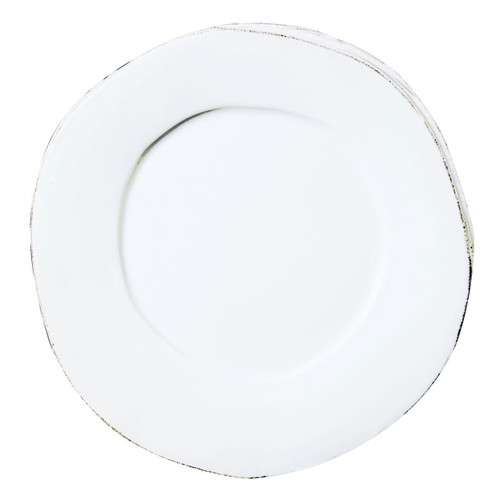 "Rustic yet chic, the Lastra White Dinner Plate will make a clean and sophisticated addition to your tablesetting. An overlapping wooden mold, used for centuries to form cheeses throughout Italy, inspired this collection. 12""D LAS-2600W"