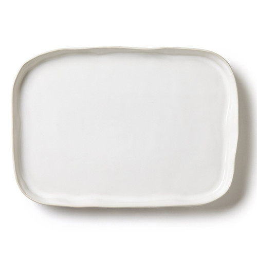 """The Forma Cloud Rectangular Platter's handformed shape, free-form edges, and stoneware strength make it a go-to serving piece in your home. 14.75""""L, 10""""W, 1.25""""H FOM-1128CL"""