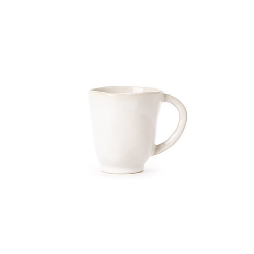 "The Forma Cloud Mug boasts stoneware strength and the authentic shape of a handformed work of art. Whether part of an all-white table setting or mixed in with other collections and colors, the mug makes a simple statement. 4""H, 12 oz FOM-1110CL"