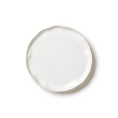 """The Forma Cloud Salad Plate makes a simple statement on your table with its authentic, handformed shape and classic white hue. Made from our strongest stoneware, this plate is to be admired and enjoyed every day. 8""""D FOM-1101CL"""