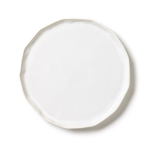 """The Forma Cloud Small Round Platter/Charger is made from the strongest stoneware in Veneto. The authentic, handformed shape makes for a beautiful base as a charger on your table or simple serving piece. 12.5""""D FOM-1121CL"""