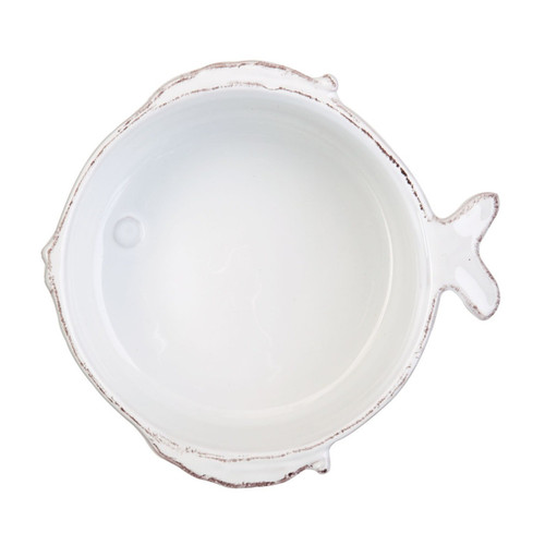 "The Lastra White Cereal Bowl has clean, simple lines, and a charming fish tail, fin, and lips. 5.5""D, 2""H FSF-2603"