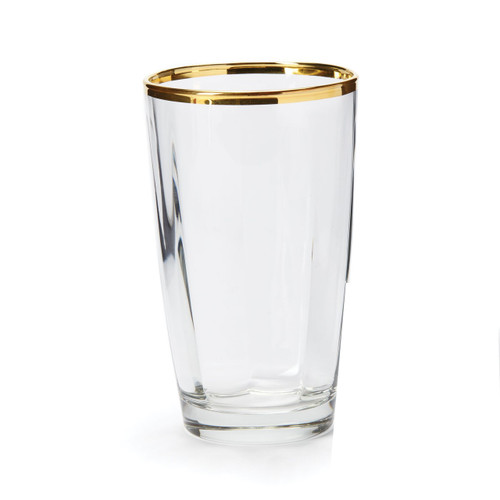 """The Optical Gold High Ball glass is a brilliant addition to your barware collection. The elegant gilded rim adds effortless sophistication to any table or bar. 5.5""""H, 14 oz. OPG-8813"""