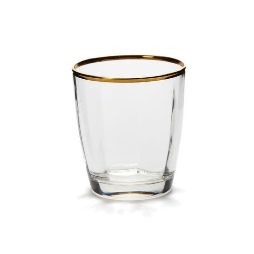 """Adorn your table with the classic Optical Gold Double Old Fashioned Glasses. The elegant lines and delicate gilded rim add effortless embellishment to any table. The classic style makes this glass a perfect gift for men and women alike. 4""""H, 10 oz. OPG-8812"""
