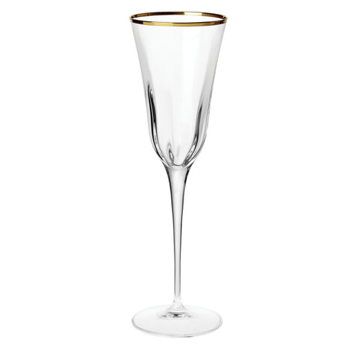"""The Optical Gold Champagne Glass is trimmed in a delicate gilded rim, and its elegant lines bring sophistication and glamour to every table. The golden embellishment is effortlessly beautiful. 9.75""""H, 7 oz OPG-8850"""