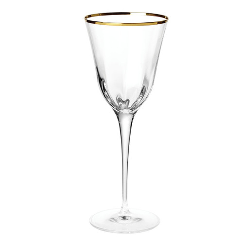 "The Optical Gold Water Glass is trimmed in a delicate gilded rim, and its elegant lines bring sophistication and glamour to every table. The golden embellishment is effortlessly beautiful. 9.5""H, 11 oz OPG-8810"