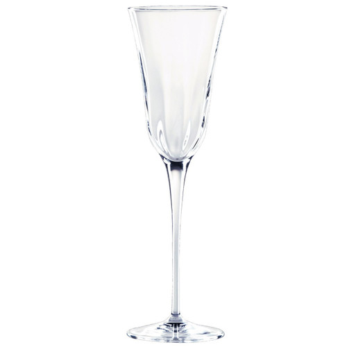 "Elegant lines and a substantial weight give the sense of timeless crystal in the Optical Clear Champagne Glass. 9.75""H, 7 oz OPT-8850CL"