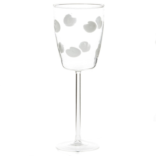 "Dress up your daily glass of wine with the Drop Wine Glass. Intricately mouthblown in Veneto, this beautiful collection brings a playful, chic touch to your favorite barware assortment. 9.5""H, 11 oz DRP-5420"