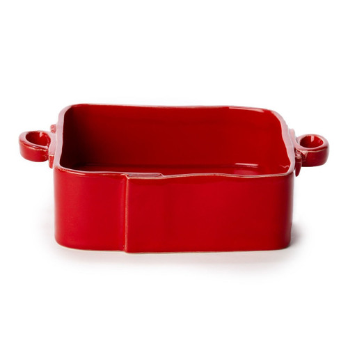 """Long lauded for creating one of the best shades of red in tabletop, we are thrilled to announce our newest red. Lastra's iconic cheese mold shape meets the rich hue, and the result is extraordinary on this Lastra Square Baker. 11.5""""L, 8.5""""W, 3""""H LAS-2657R"""