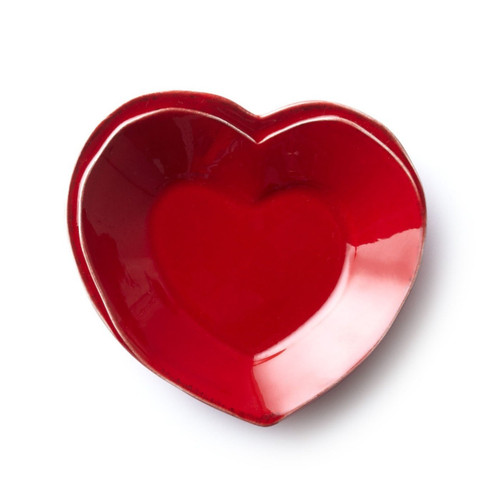 """Long lauded for creating one of the best shades of red in tabletop, we are thrilled to announce our newest red. Lastra's iconic cheese mold shape meets the rich hue, and the result is extraordinary on this Lastra Red Heart Dish. 6.5""""W, 1.5""""H LAS-2675R"""
