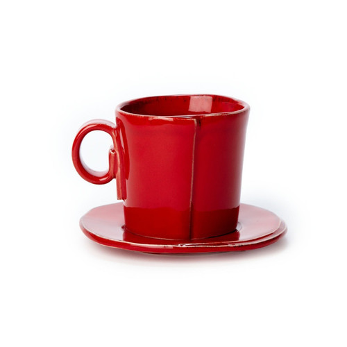The Lastra Red Espresso Cup & Saucer are rustic, chic, and endlessly charming in its small size. LAS-2609R