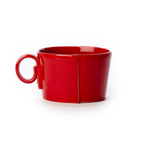 """Oprah's pick for her Valentine's Day O List!  The Lastra Red Jumbo Cup pairs perfectly with the Lastra Oval Tray for serving soup and a sandwich, or your favorite flavor of oatmeal with a healthy helping of fruit! The jumbo cup will be your go-to piece for everyday dining or special entertaining, just ask Oprah! The Lastra collection is handformed in Tuscany from Italian stoneware. The rustic shapes are inspired by the overlapping wooden mold that was used for centuries to form Parmesan and other cheeses throughout Italy. Microwave, oven, freezer, and dishwasher safe. 4.75""""D, 3.25""""H LAS-2611R"""