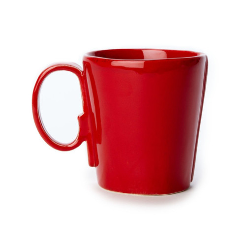 """Long lauded for creating one of the best shades of red in tabletop, we are thrilled to announce our newest red. Lastra's iconic cheese mold shape meets the rich hue, and the result is extraordinary on this Lastra Red Mug. 4""""H LAS-2610R"""