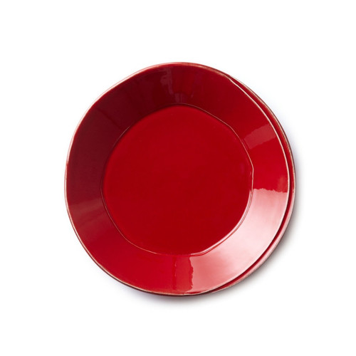 """Long lauded for creating one of the best shades of red in tabletop, we are thrilled to announce our newest red. Lastra's iconic cheese mold shape meets the rich hue, and the result is extraordinary on this Lastra Red Pasta Bowl. 8.75""""D LAS-2604R"""