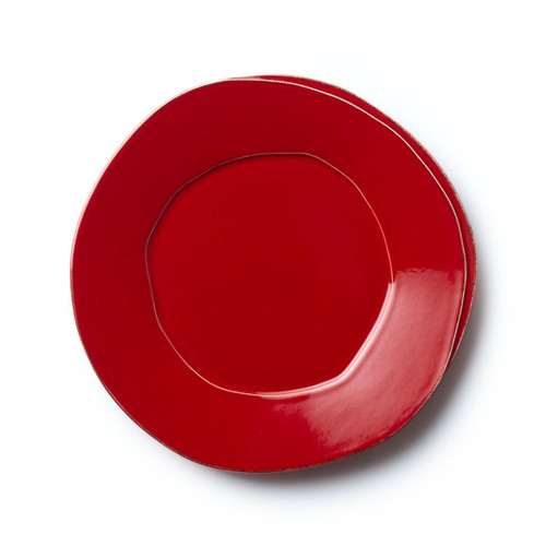 "Long lauded for creating one of the best shades of red in tabletop, we are thrilled to announce our newest red. Lastra's iconic cheese mold shape meets the rich hue, and the result is extraordinary on this Lastra Red European Dinner Plate. 10.5""D LAS-2606R"