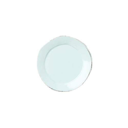 "The rustic yet chic shape of the Lastra Aqua Canape Plate looks clean and sophisticated on your table. An overlapping wooden mold, used for centuries to form cheeses throughout Italy, inspired this collection. 6.25""D LAS-2670A"