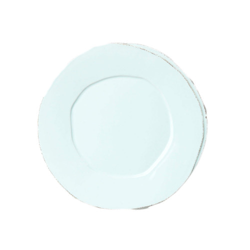"The rustic yet chic shape of the Lastra Aqua Salad Plate looks clean and sophisticated on your table, and the color is endlessly refreshing. An overlapping wooden mold, used for centuries to form cheeses throughout Italy, inspired this collection. 8.75""D LAS-2601A"