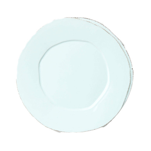 "The rustic yet chic shape of the Lastra Aqua European Dinner Plate looks clean and sophisticated on your table. Of the two dinner plates in the Lastra collection, this one is the smaller. An overlapping wooden mold, used for centuries to form cheeses throughout Italy, inspired this collection. 10.5""D LAS-2606A"