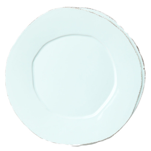 "The rustic yet chic shape of the Lastra Aqua Dinner Plate looks clean and sophisticated on your table. Of our two Lastra dinner plates, this is the larger one. 12""D LAS-2600A"