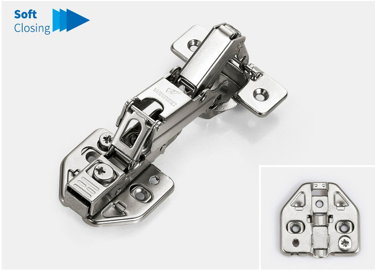 165 Degree Soft Closing Hinge with mounting plate