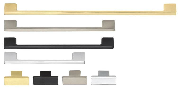 Contemporary Aluminum Metal Arch Pull, 4 finishes and four sizes,  slim line