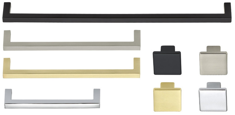 Square and straight aluminum handle Pull, slim Line, 4 Finishes and 4 Sizes, with 8-32 x 1 inch mounting screws